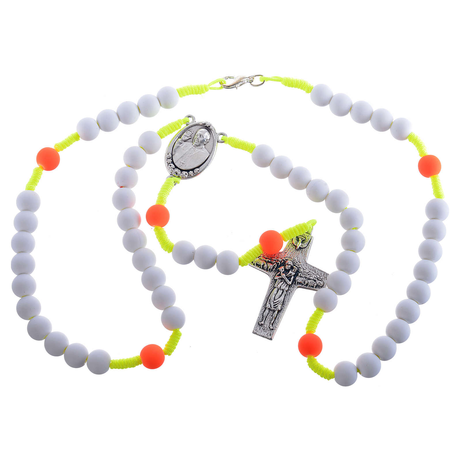Rosary beads in white fimo, Pope Francis 4