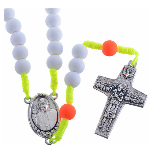 Rosary beads in white fimo, Pope Francis 1