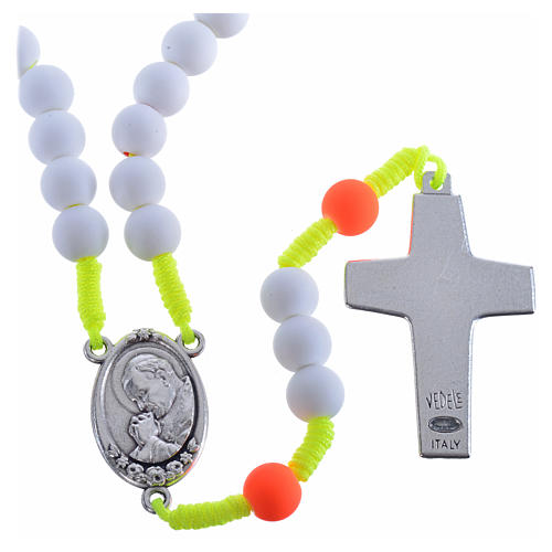 Rosary beads in white fimo, Pope Francis 2