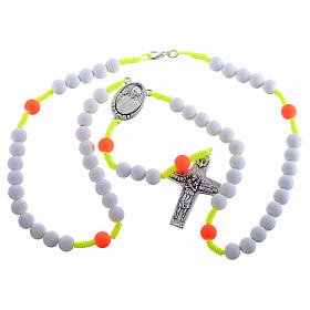 Rosary beads in white fimo, Pope Francis s3