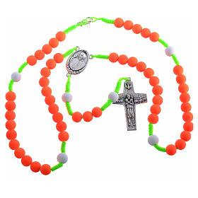 Rosenkranz aus Fimo Papst Franziskus orange s3