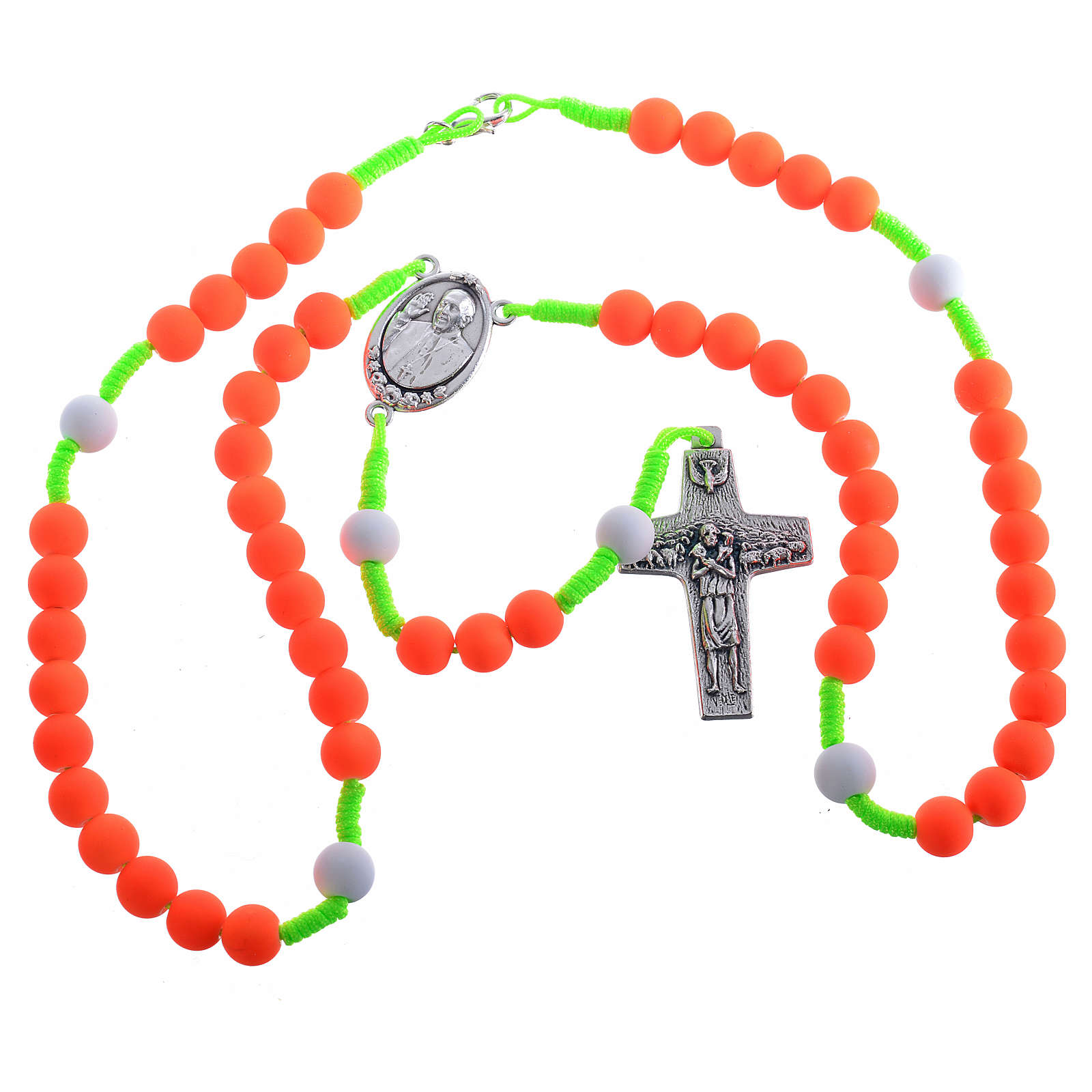 Rosary beads in orange fimo, Pope Francis 4