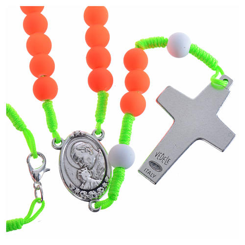 Rosary beads in orange fimo, Pope Francis 2