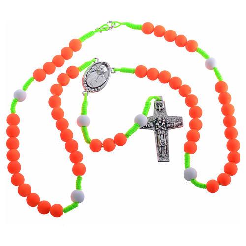 Rosario fimo naranja Papa Francisco 3