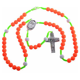 Rosary beads in orange fimo, Pope Francis s3