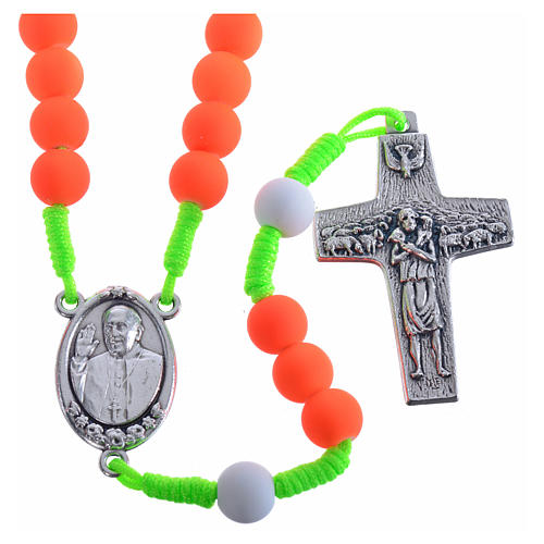 Rosary beads in orange fimo, Pope Francis 1