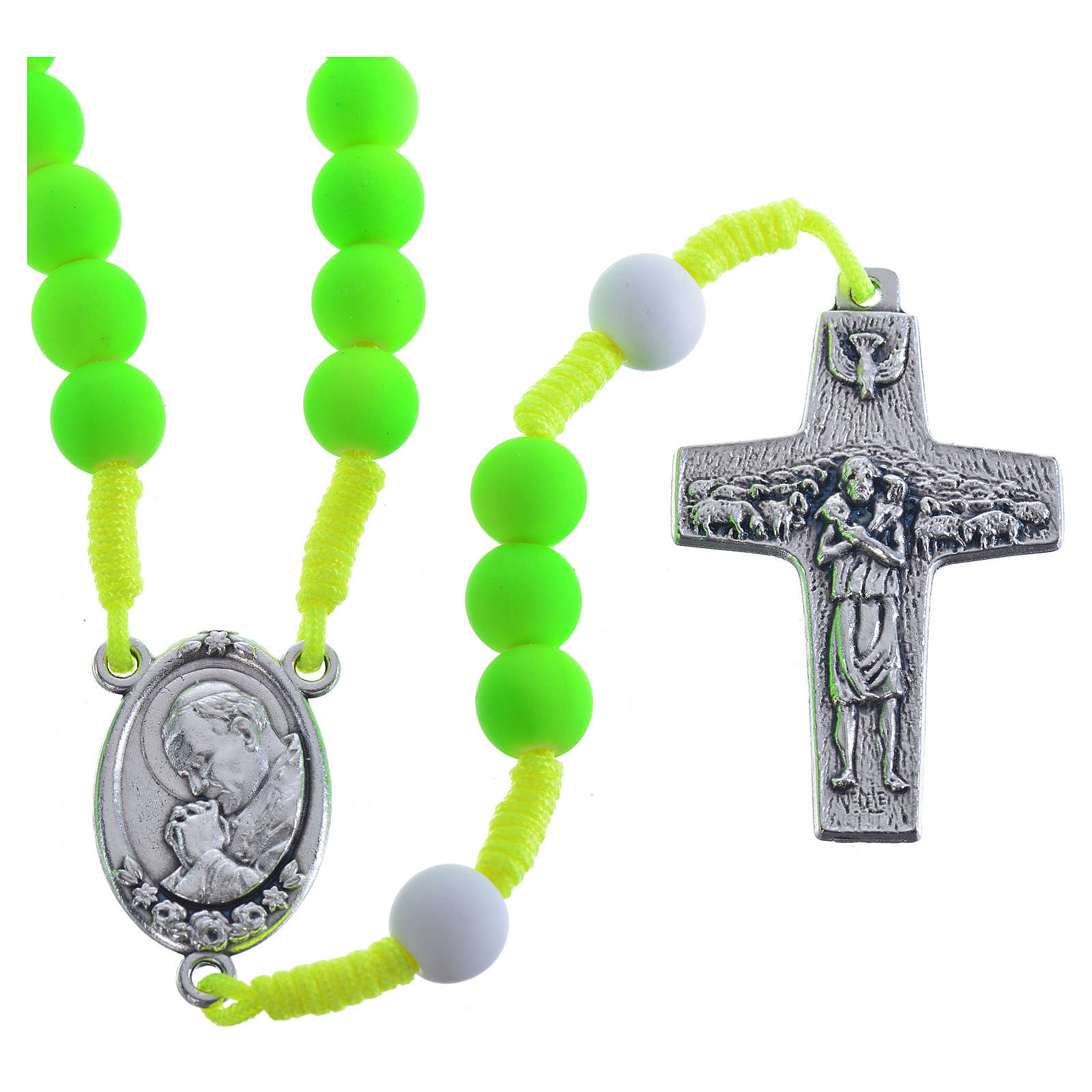 Rosary beads in green fimo, Pope Francis 4