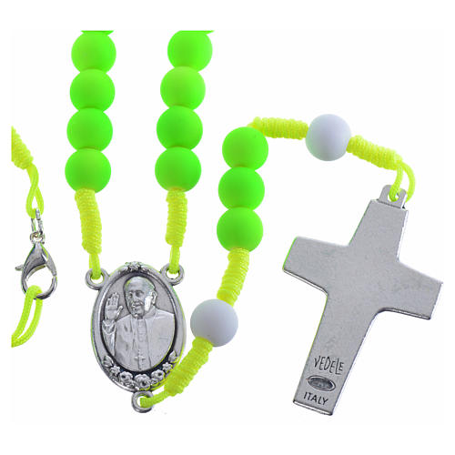 Rosary beads in green fimo, Pope Francis 2