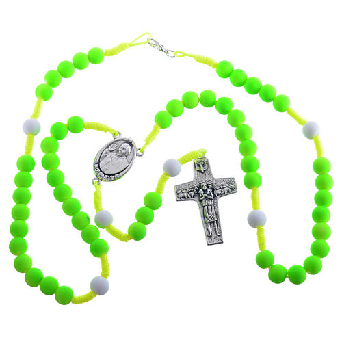 Rosary beads in green fimo, Pope Francis 3