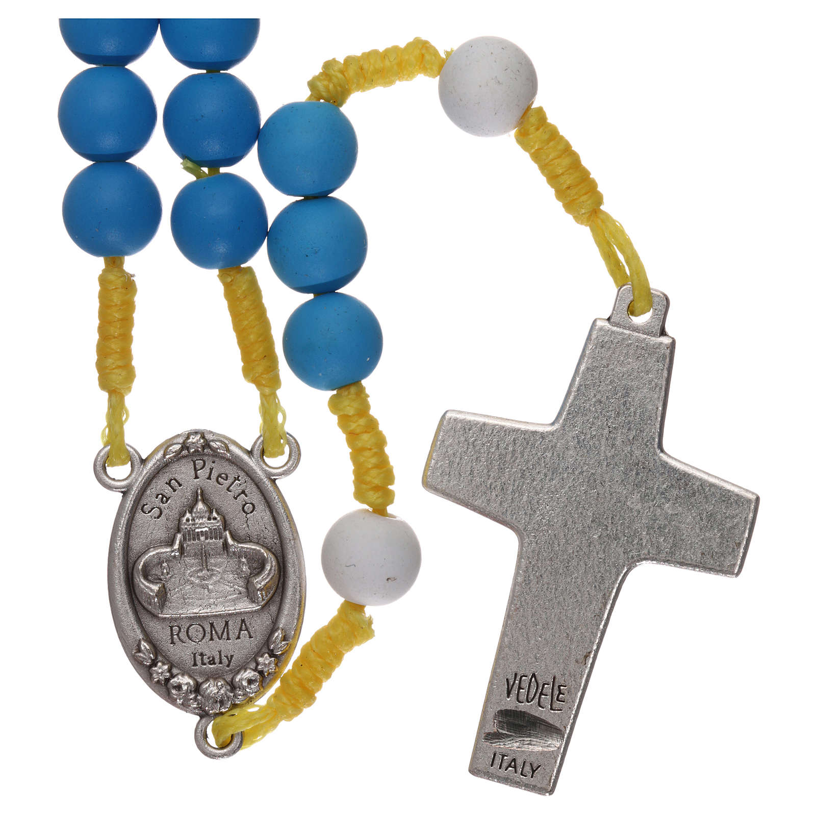 Rosenkranz aus blauem Fimo Papst Franziskus 4