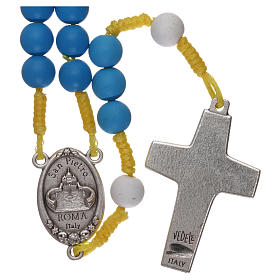 Rosenkranz aus blauem Fimo Papst Franziskus s2