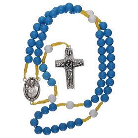 Rosenkranz aus blauem Fimo Papst Franziskus s4