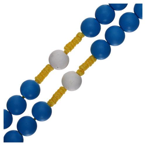 Rosenkranz aus blauem Fimo Papst Franziskus 3