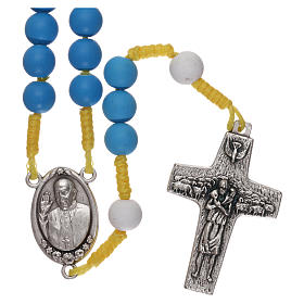 Devotional rosaries: Rosary beads in blue fimo, Pope Francis