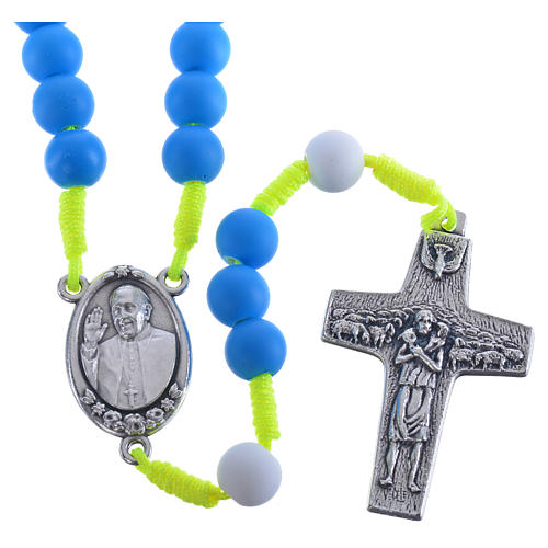 Rosario fimo blu Papa Francesco 1
