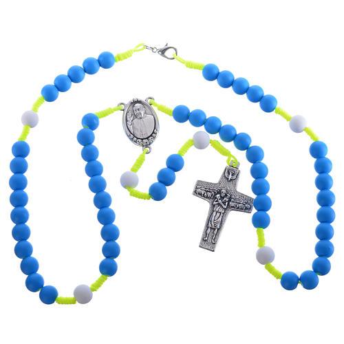 Rosario fimo blu Papa Francesco 3