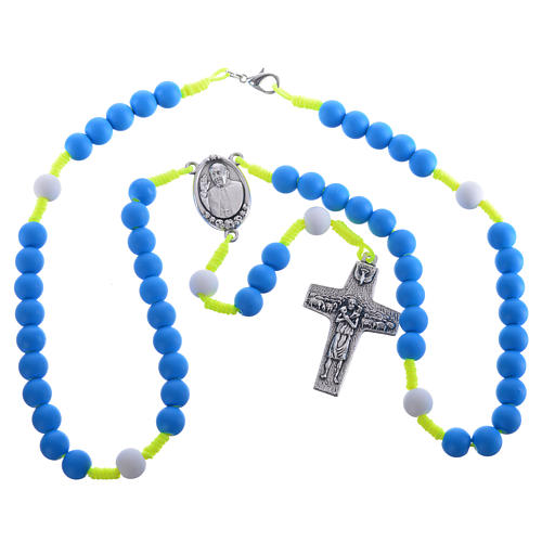 Rosary beads in blue fimo, Pope Francis 3