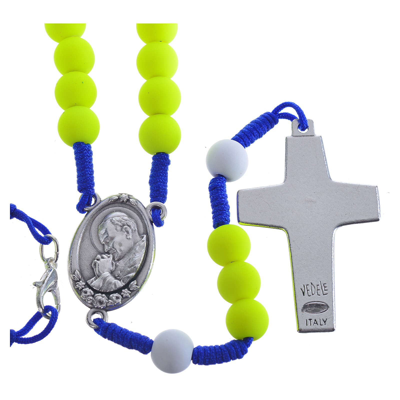Rosenkranz aus gelbem Fimo Papst Franziskus 4