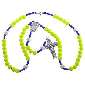 Rosenkranz aus gelbem Fimo Papst Franziskus s3