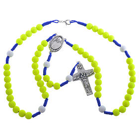 Rosary beads in yellow fimo, Pope Francis s3
