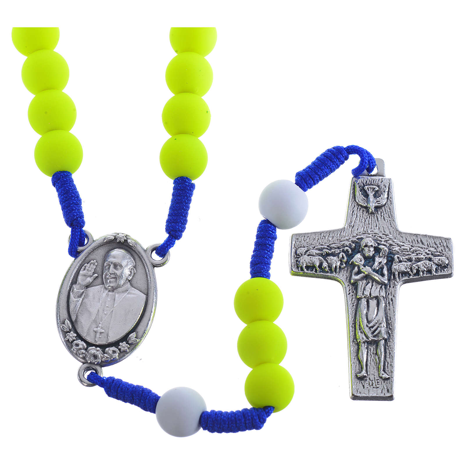 Rosary beads in yellow fimo, Pope Francis 4