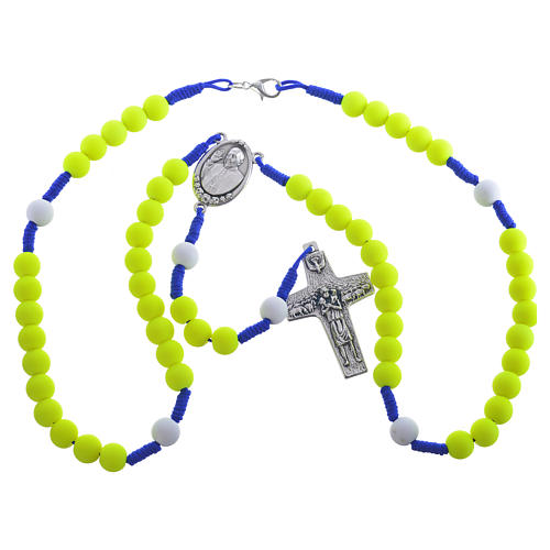Rosary beads in yellow fimo, Pope Francis 3