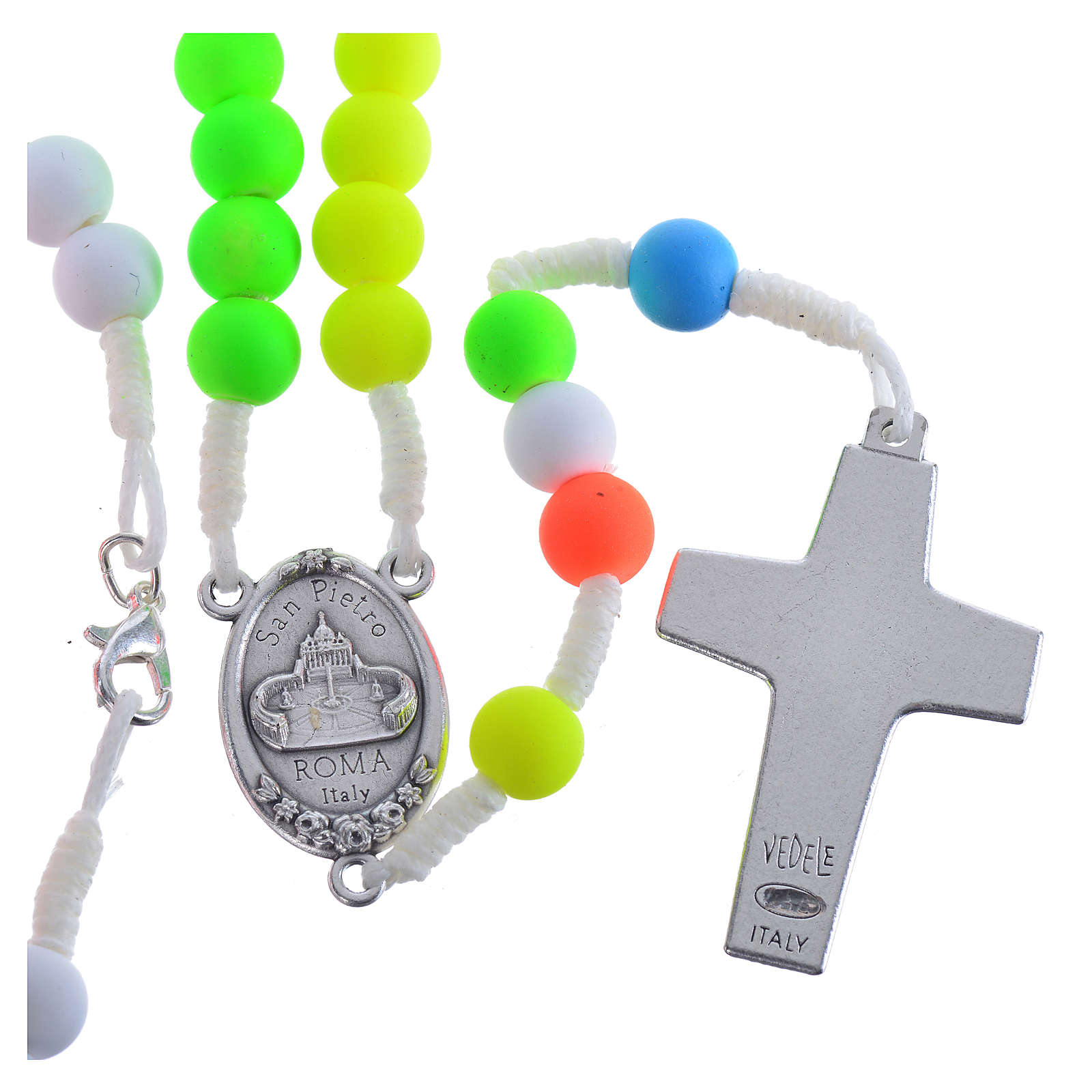 Rosary beads in multicoloured fimo, Pope Francis 4