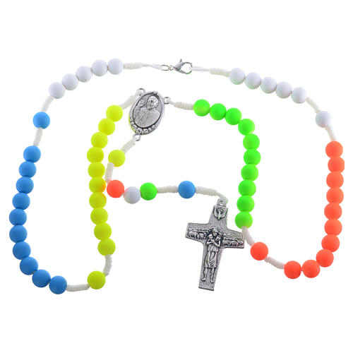 Rosario fimo multicolor Papa Francesco 3