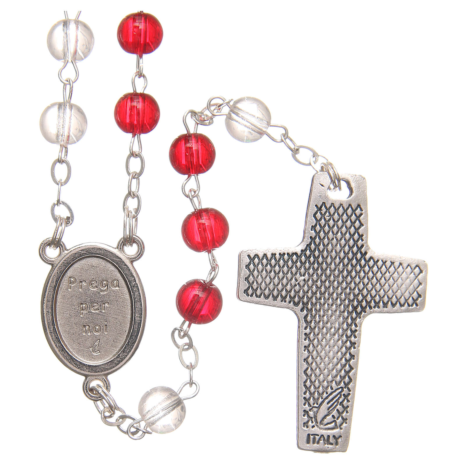 Rosary beads with Jubilee of Mercy, red and white PVC 4mm 4