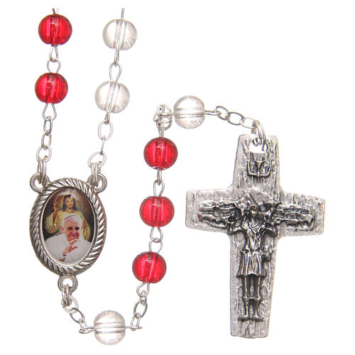 Rosary beads with Jubilee of Mercy, red and white PVC 4mm 1