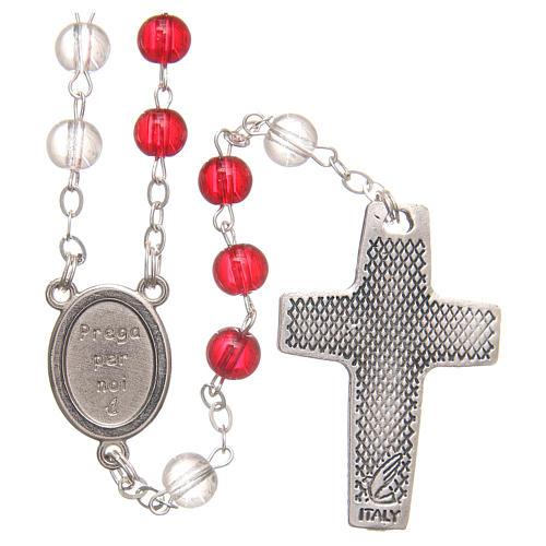 Rosario del Papa Francisco blanco y rojo  de PVC 4 mm 2