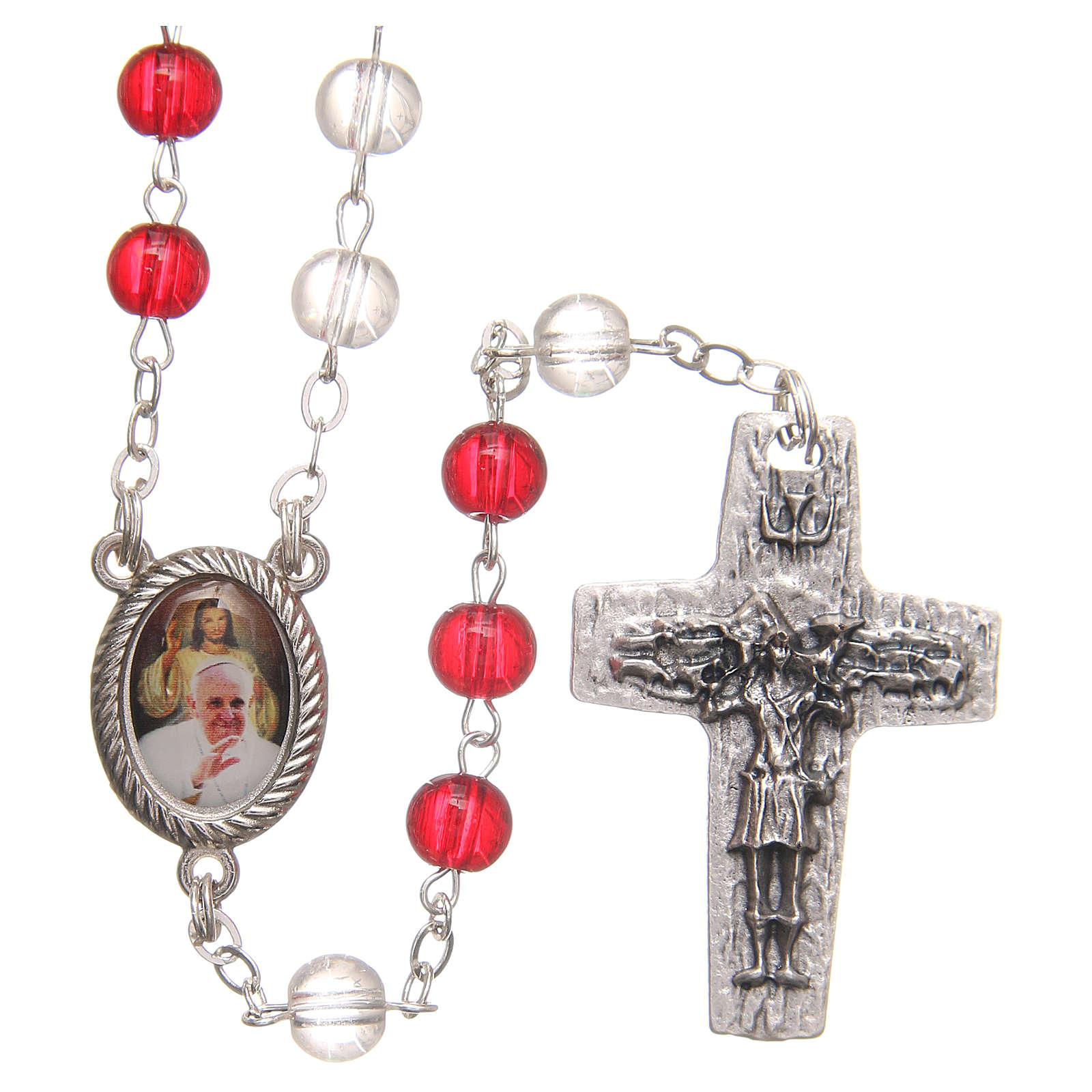 Chapelet Pape François pvc blanc et rouge 4 mm 4