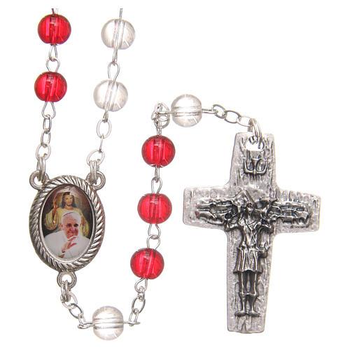 Chapelet Pape François pvc blanc et rouge 4 mm 1
