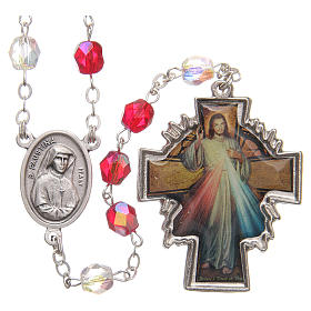 Devotional rosaries: Rosary beads Mercy of Saint Faustyna red and white PVC 8mm