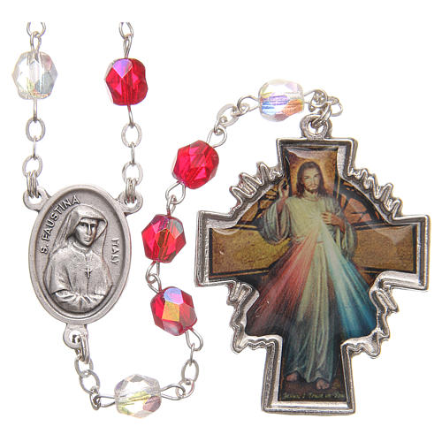 Rosary beads Mercy of Saint Faustyna red and white PVC 8mm 1