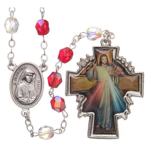 Chapelet Miséricorde Ste Faustine blanc et rouge en pvc 8 mm 1