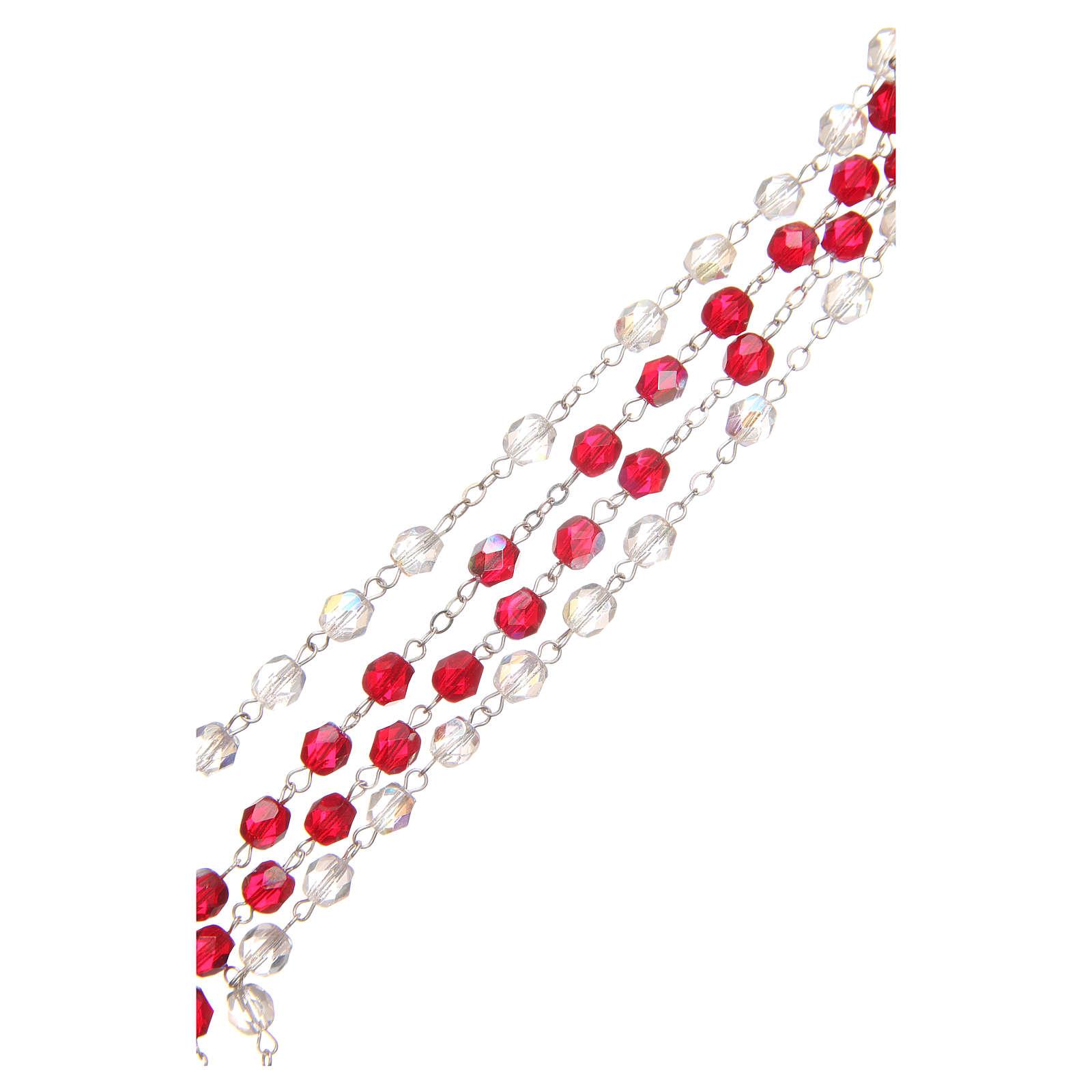 Rosario Misericordia S. Faustina bianco e rosso in pvc 8mm 4