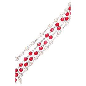 Rosario Misericordia S. Faustina bianco e rosso in pvc 8mm s3