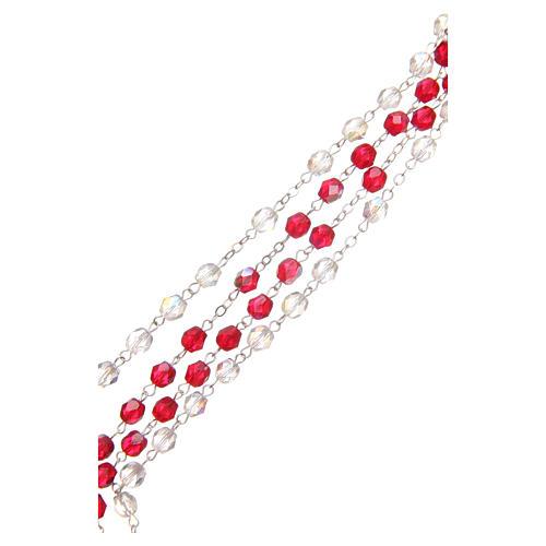 Rosario Misericordia S. Faustina bianco e rosso in pvc 8mm 3