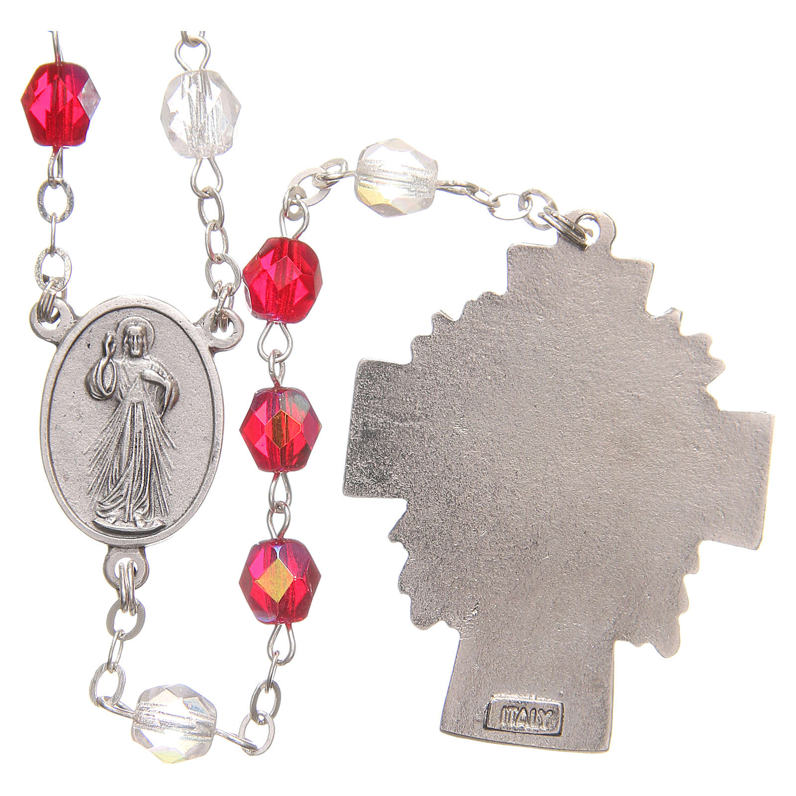 Rosary beads Mercy of Saint Faustyna red and white PVC 8mm 4