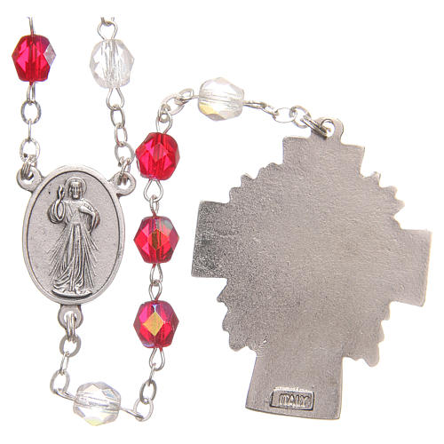 Rosary beads Mercy of Saint Faustyna red and white PVC 8mm 2