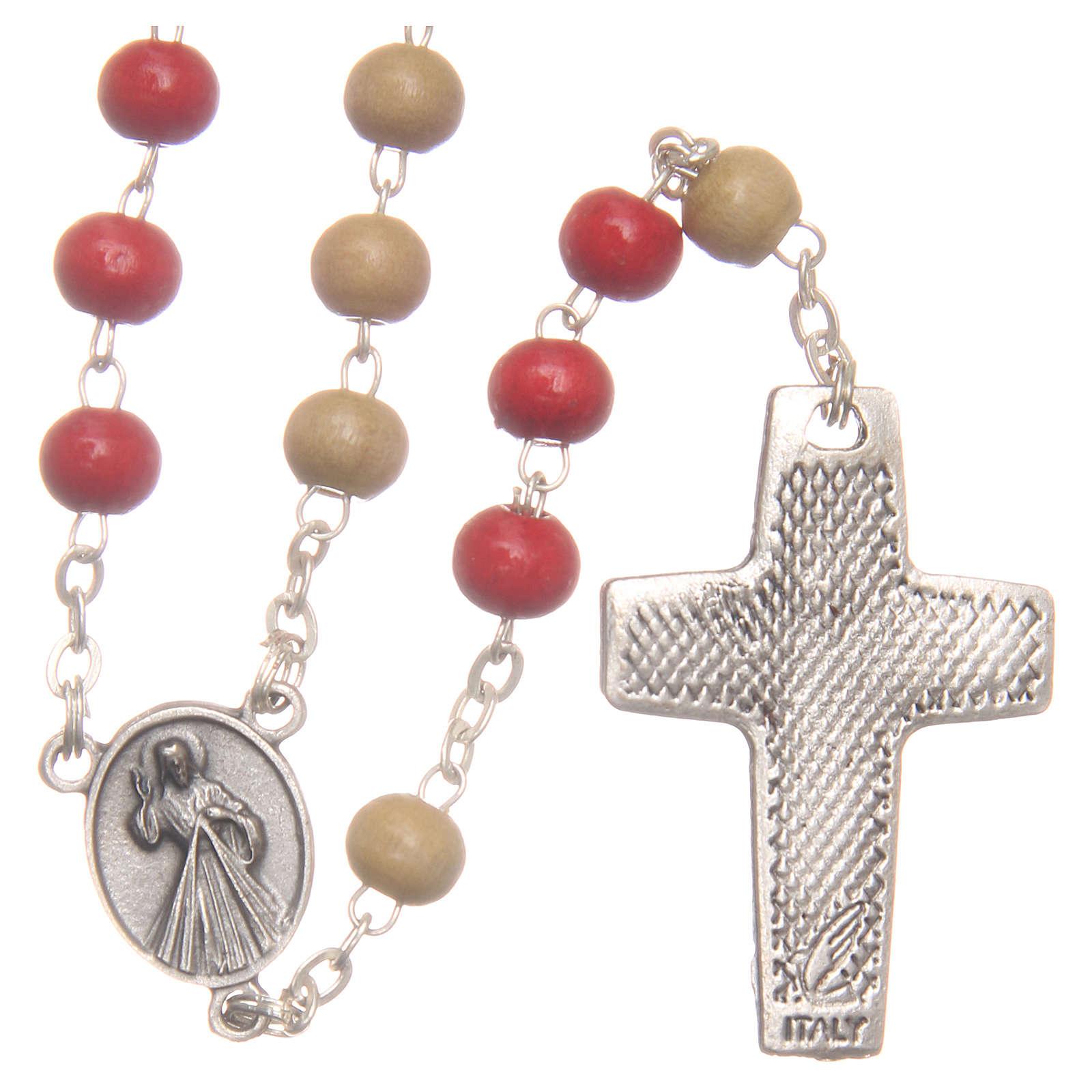 Rosario del Papa Francisco cuentas de madera blanca y roja 7 mm 4