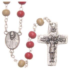 Rosario del Papa Francisco cuentas de madera blanca y roja 7 mm s1