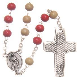 Rosario del Papa Francisco cuentas de madera blanca y roja 7 mm s2
