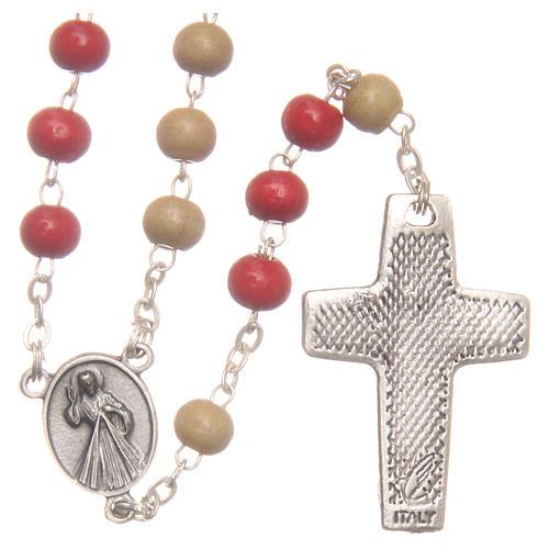 Rosario del Papa Francisco cuentas de madera blanca y roja 7 mm 2