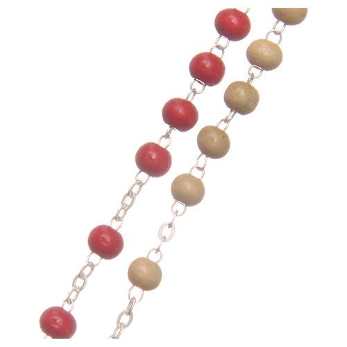 Rosario del Papa Francisco cuentas de madera blanca y roja 7 mm 3