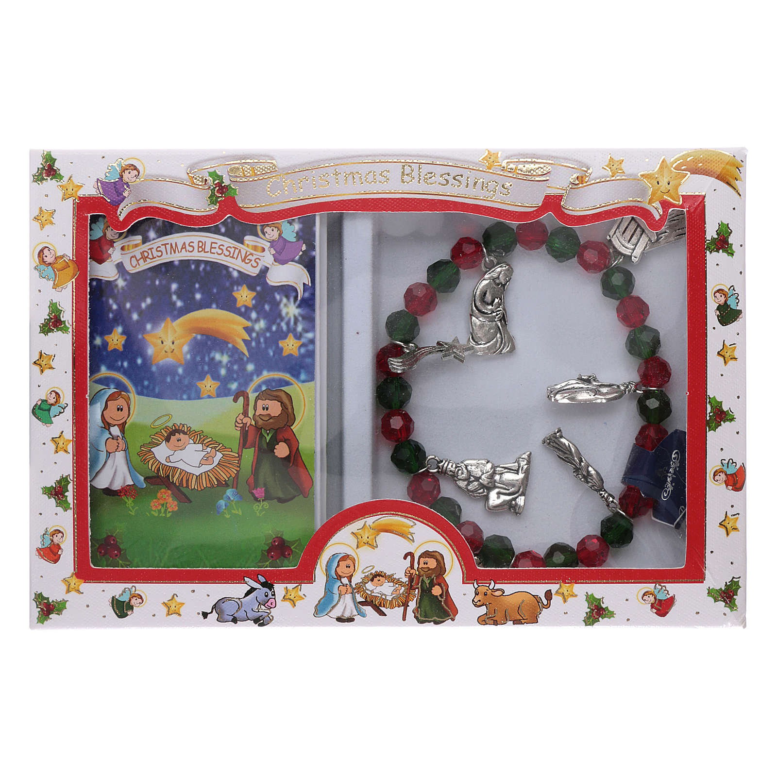 Pulsera de Navidad elástico de cristal y librito oraciones navideñas ITA 4
