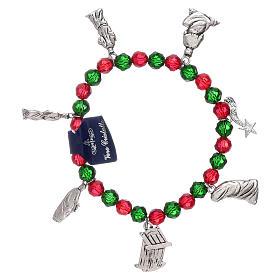 Pulsera de Navidad elástico de cristal y librito oraciones navideñas ITA s2