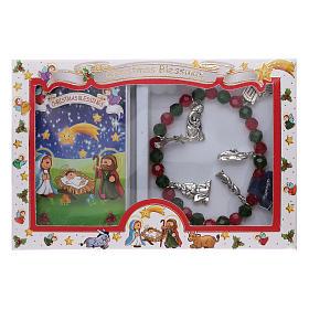 Pulsera de Navidad elástico de cristal y librito oraciones navideñas ITA s5