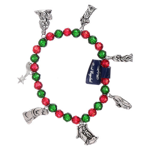 Pulsera de Navidad elástico de cristal y librito oraciones navideñas ITA 1